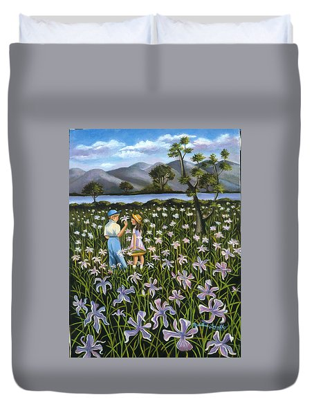 In A Field Of Wild Irises Duvet Cover