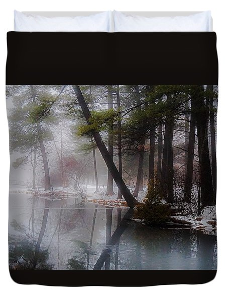 Duvet Cover featuring the photograph In A Fog by Kendall McKernon