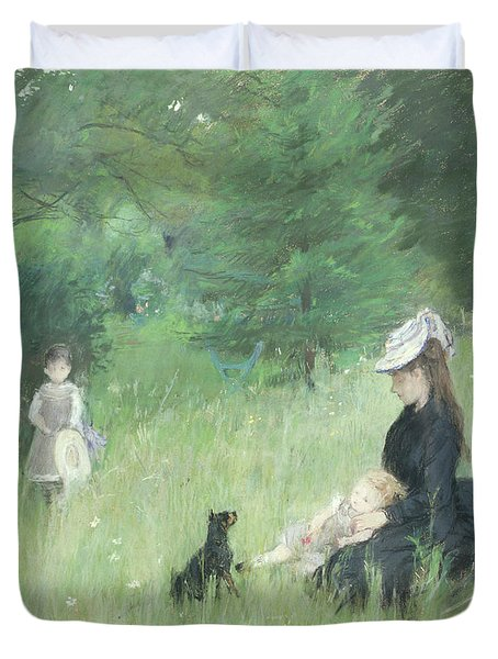 In A Park Duvet Cover by Berthe Morisot