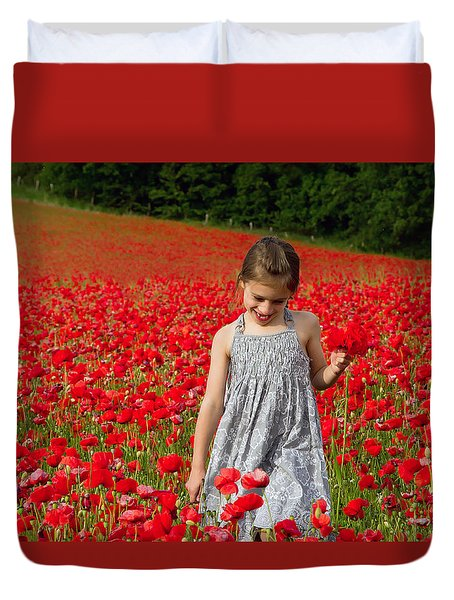 In A Sea Of Poppies Duvet Cover