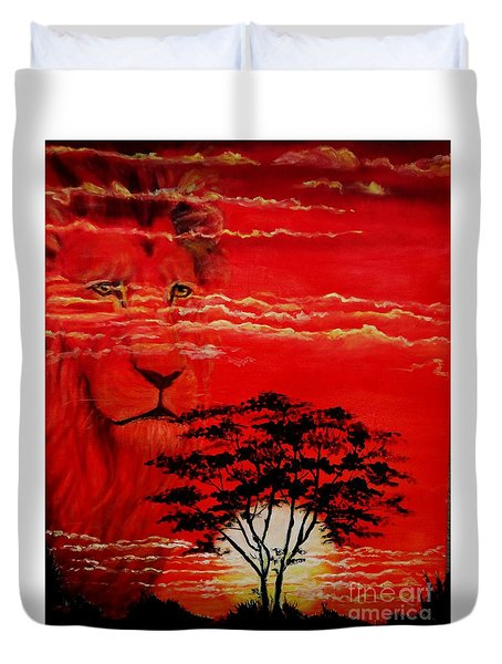 In An Arfican Sunset Duvet Cover