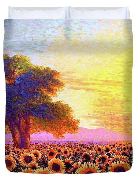 In Awe Of Sunflowers, Sunset Fields Duvet Cover
