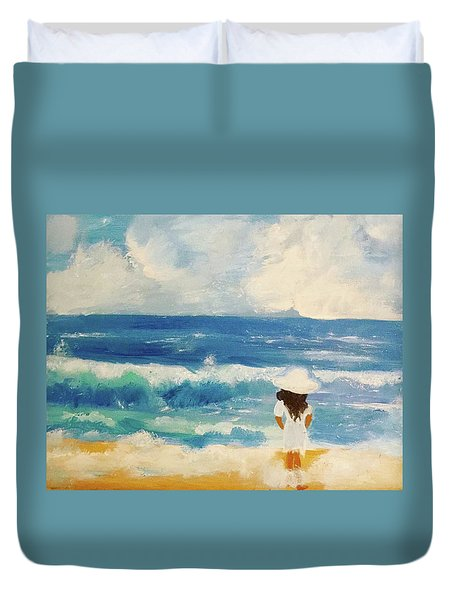In Awe Of The Ocean Duvet Cover by Angela Holmes