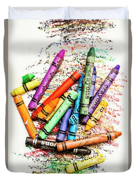 In Colours Of Broken Crayons Duvet Cover