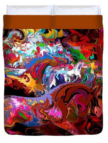 Duvet Cover featuring the digital art In Dreams by Loxi Sibley