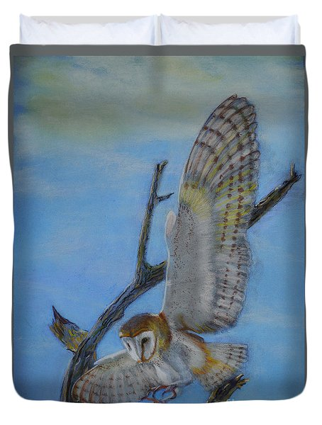 Duvet Cover featuring the pastel In Flight Barn Owl by Lance Sheridan-Peel