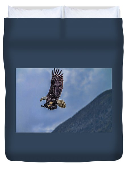 In Flight Lunch Duvet Cover by Timothy Latta