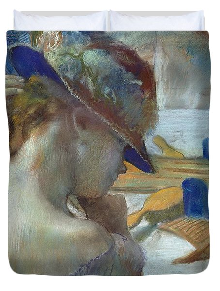 In Front Of The Mirror Duvet Cover by Edgar Degas