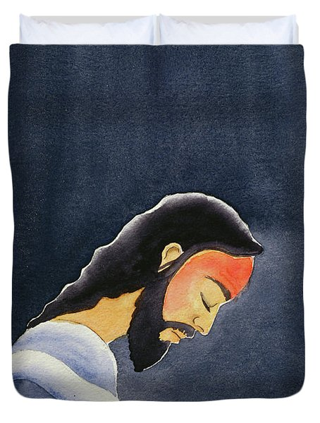 In His Agony Jesus Prays In Gethsemane To His Father Duvet Cover