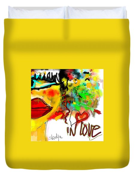 Duvet Cover featuring the digital art In Love  by Sladjana Lazarevic