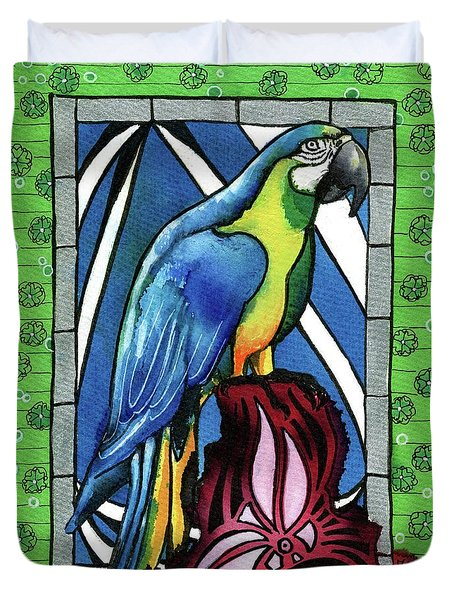 Duvet Cover featuring the painting In Love With A Macaw by Dora Hathazi Mendes