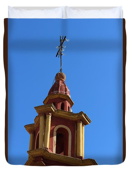 In Mexico Bell Tower Duvet Cover by Cathy Anderson
