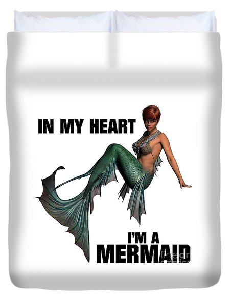 In My Heart I'm A Mermaid Duvet Cover by Esoterica Art Agency