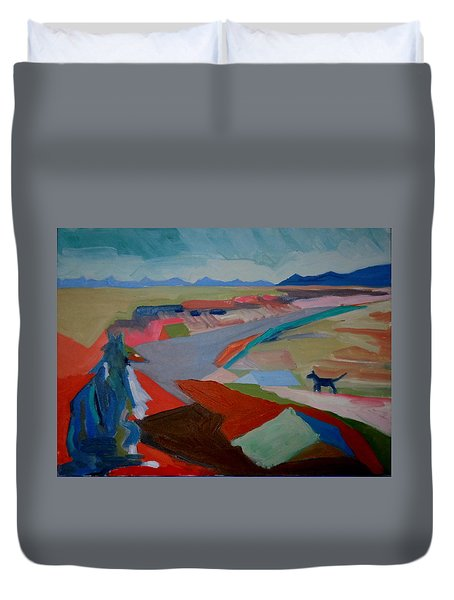 Duvet Cover featuring the painting In My Land by Francine Frank