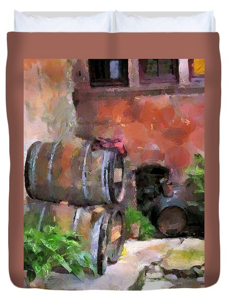 Duvet Cover featuring the painting Stored Treasure by Wayne Pascall