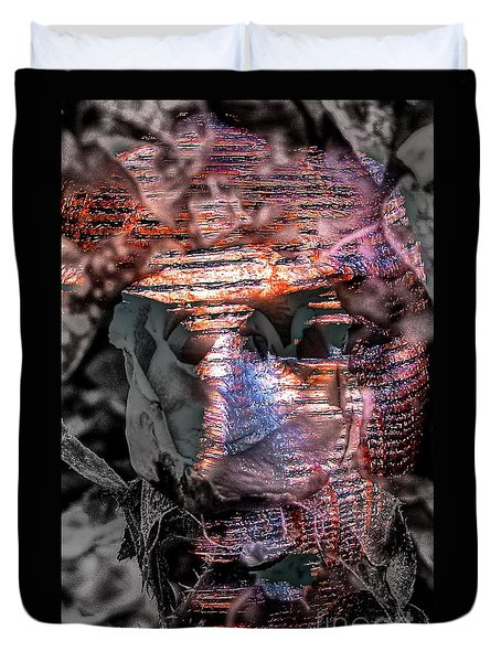 Duvet Cover featuring the mixed media In Sur  Blood Face Sculptur by Yury Bashkin