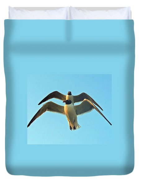 Duvet Cover featuring the photograph In Tandem At Sunset by Sandi OReilly