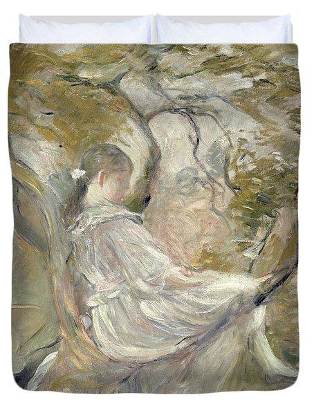 In The Apple Tree Duvet Cover by Berthe Morisot