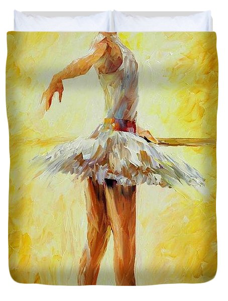 In The Ballet Class Duvet Cover by Leonid Afremov