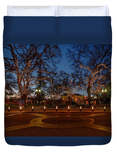 In The Center Of Town At The Crack Of Dawn Duvet Cover