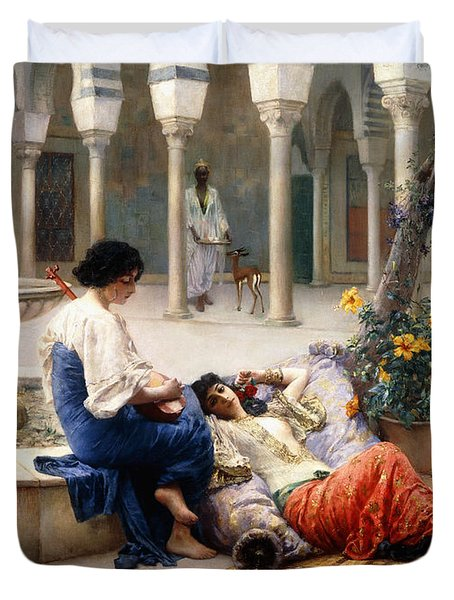 In The Courtyard Of The Harem Duvet Cover