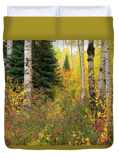Duvet Cover featuring the photograph In The Depths Of Autumn Woods by Tim Reaves