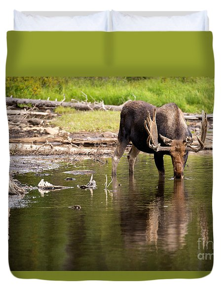 Duvet Cover featuring the photograph In The Drink by Aaron Whittemore