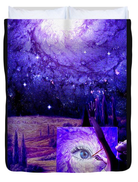 Duvet Cover featuring the painting In The Eye Of The Beholder by Robby Donaghey