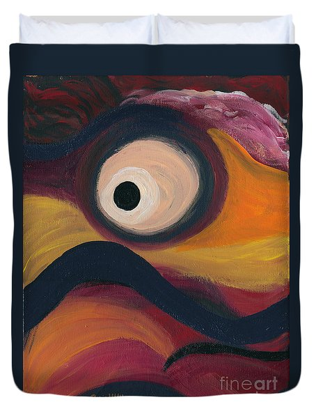Duvet Cover featuring the painting In The Eye Of The Hurricane by Ania M Milo