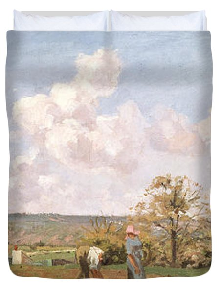 In The Fields Duvet Cover by Camille Pissarro