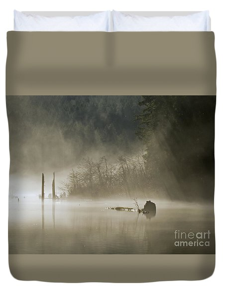 Duvet Cover featuring the photograph In The Fog by Inge Riis McDonald