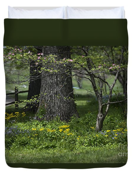 Duvet Cover featuring the photograph In The Garden by Andrea Silies