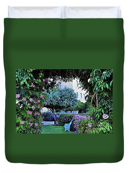 In The Garden At Mount Zion Hotel  Duvet Cover by Lydia Holly