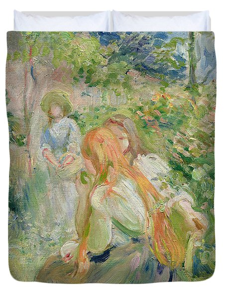 In The Garden At Roche Plate Duvet Cover by Berthe Morisot
