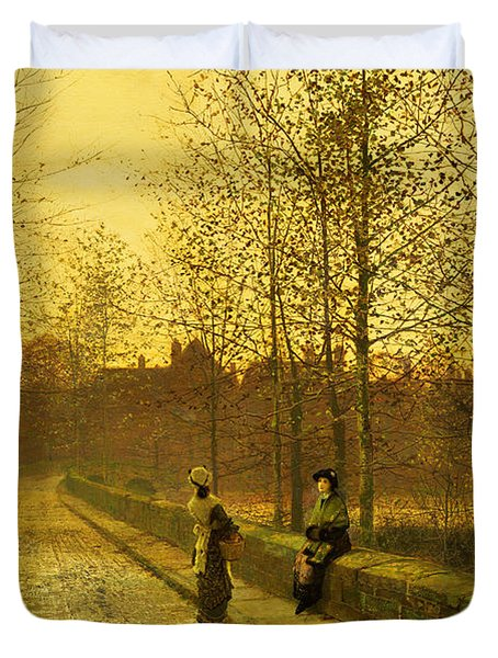 In The Golden Gloaming Duvet Cover by John Atkinson Grimshaw