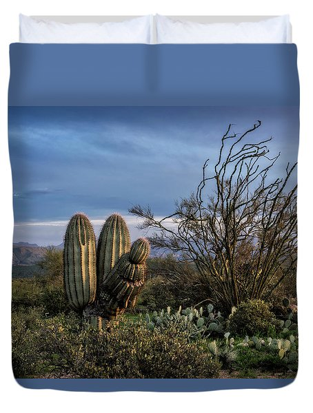 Duvet Cover featuring the photograph In The Green Desert  by Saija Lehtonen