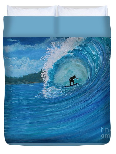 Duvet Cover featuring the painting In The Green Room by Myrna Walsh