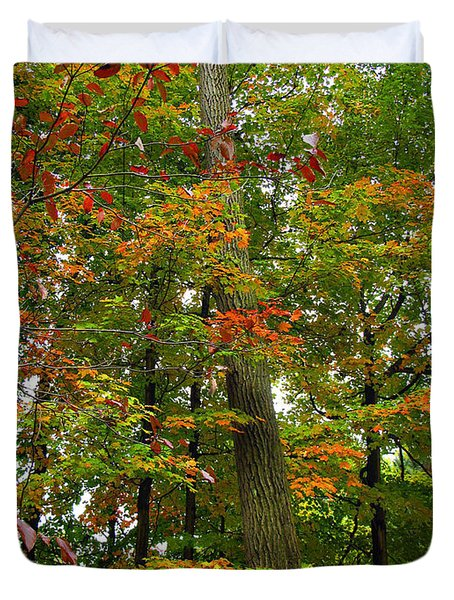 Duvet Cover featuring the photograph In The Height Of Autumn by Joan  Minchak