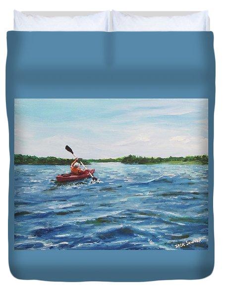 In The Kayak Duvet Cover by Jack Skinner