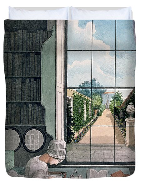 In The Library, St. James' Square Duvet Cover