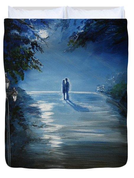 In The Loving Moonlight Duvet Cover by Leslie Allen