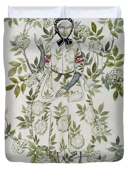 In The Midst Of A Tree Sat A Kindly Looking Old Woman' Duvet Cover by Arthur Rackham