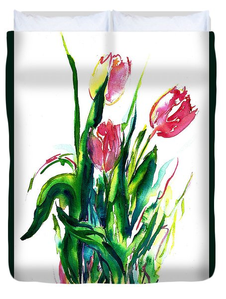 In The Pink Tulips Duvet Cover