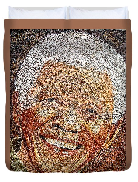 Nelson Mandela - In The Pyramid Of Our Minds Duvet Cover by Bankole Abe