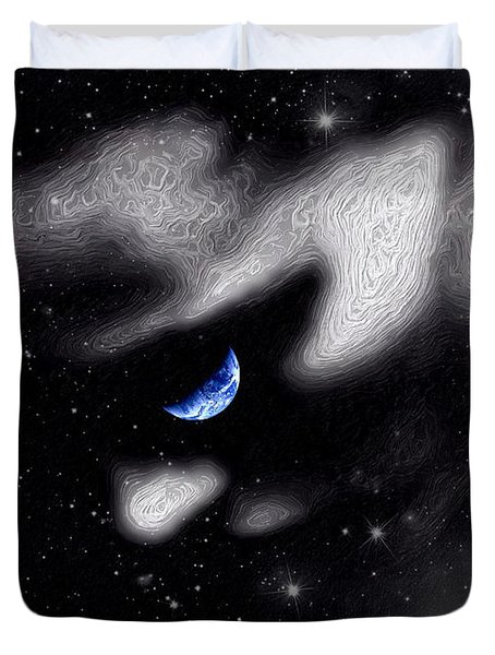 Duvet Cover featuring the digital art In The Quiet Of Your Mind by ISAW Company