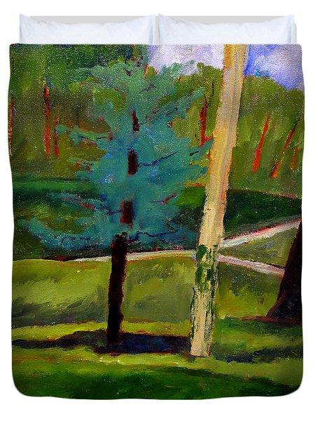 In The Rough Blue Spruce Plein Air Duvet Cover by Charlie Spear