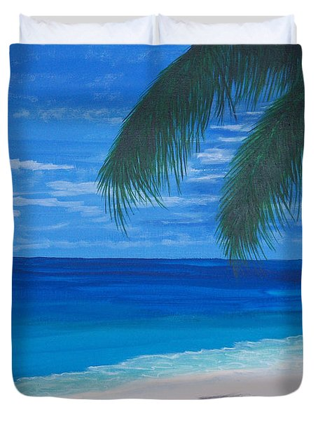 In The Shade Of A Palm Duvet Cover by Nancy Nuce
