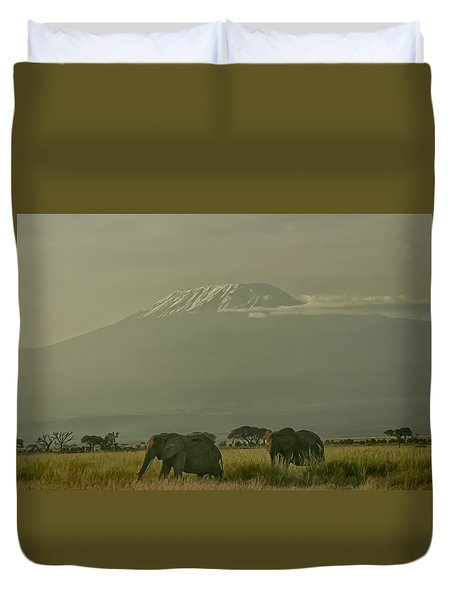 Duvet Cover featuring the photograph In The Shadow Of Kilimanjero by Gary Hall