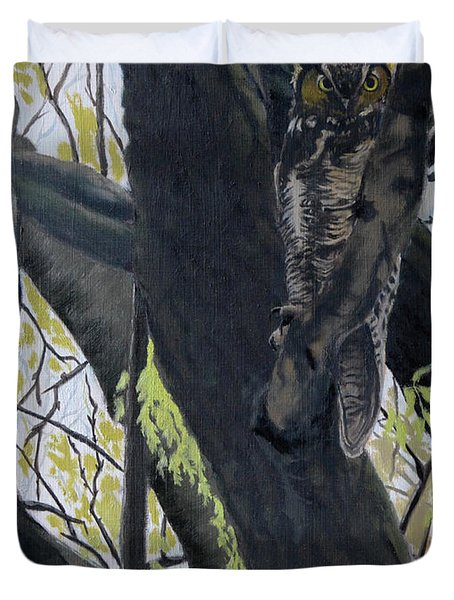 In The Shadow-ojibway Great Horn Owl Duvet Cover