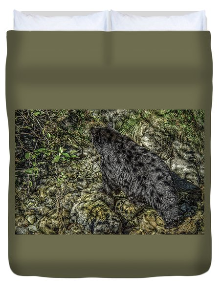 In The Shadows Black Bear Duvet Cover